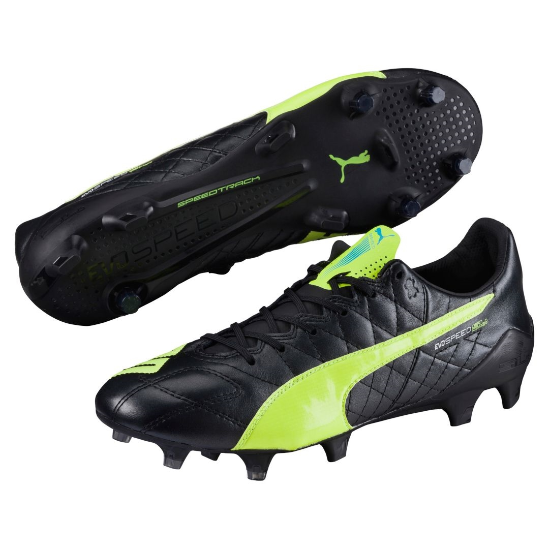 evoSPEED SL (Leather) FG Soccer Cleats (Black Safety Yellow White ... a7bbf9b8f44c