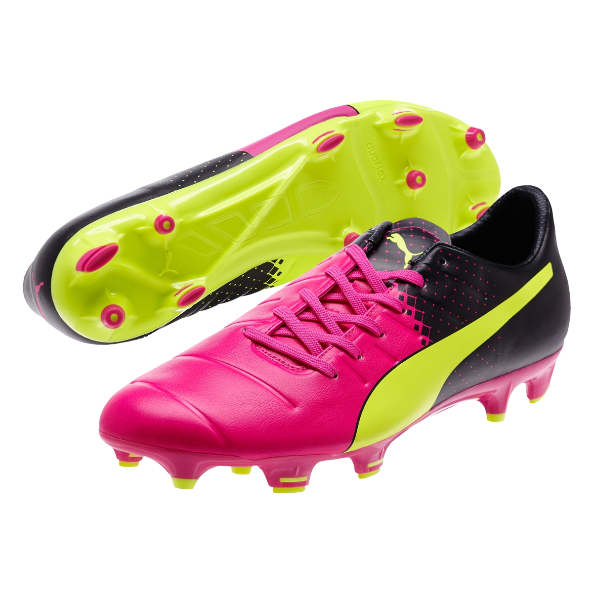 Puma evoPOWER 3.3 Tricks FG Soccer Cleats (Pink GloSafety YellowBlack)
