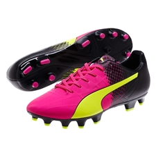 Puma evoSPEED 4.5 Tricks FG Soccer Cleats (Pink Glo/Safety Yellow/Black)