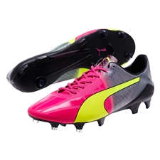 Puma evoSPEED 1.5 Tricks FG Soccer Cleats (Pink Glo/Safety Yellow/Black)