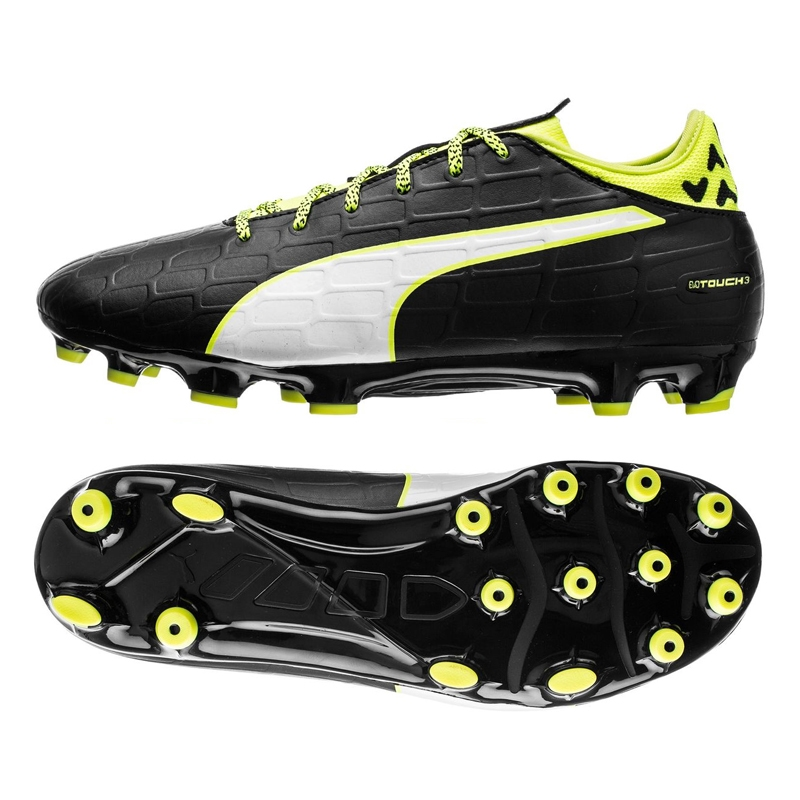 c459fbf87 $64.99 Add to cart to see price | Soccer Cleats | Puma evoTOUCH | PUMA  103710-01 | Puma evoTOUCH 3 FG Soccer Cleats in black and safety yellow  |FREE ...