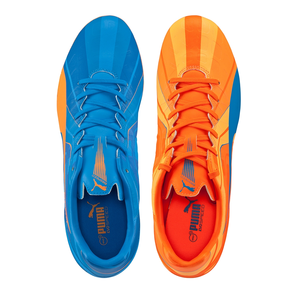 puma evospeed blue and orange