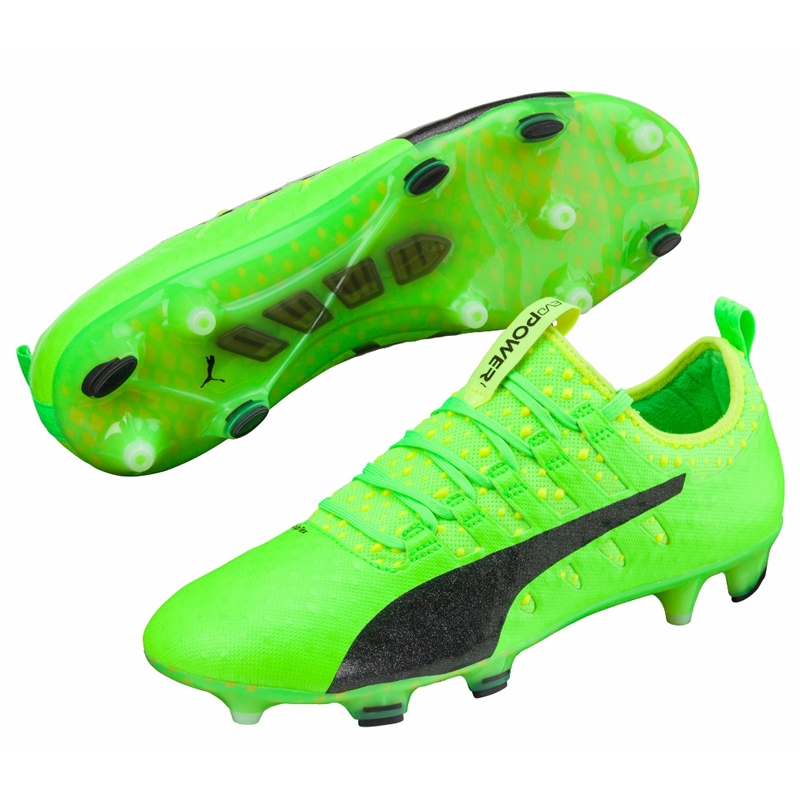 Puma evoPOWER Vigor 1 FG Soccer Cleats (Green GeckoPuma BlackSafety Yellow