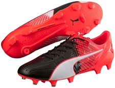 Puma evoSPEED 1.5 Leather FG Soccer Cleats (Black/White/Red Blast)