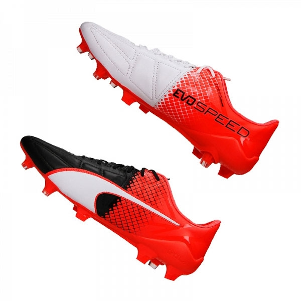 Puma evoSPEED 1.5 Leather FG Soccer Cleats (Black White Red Blast ... 6e59bcf413b6