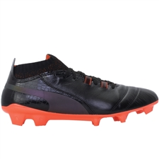 Puma One Lux FG Soccer Cleats (Black/Shocking Orange)