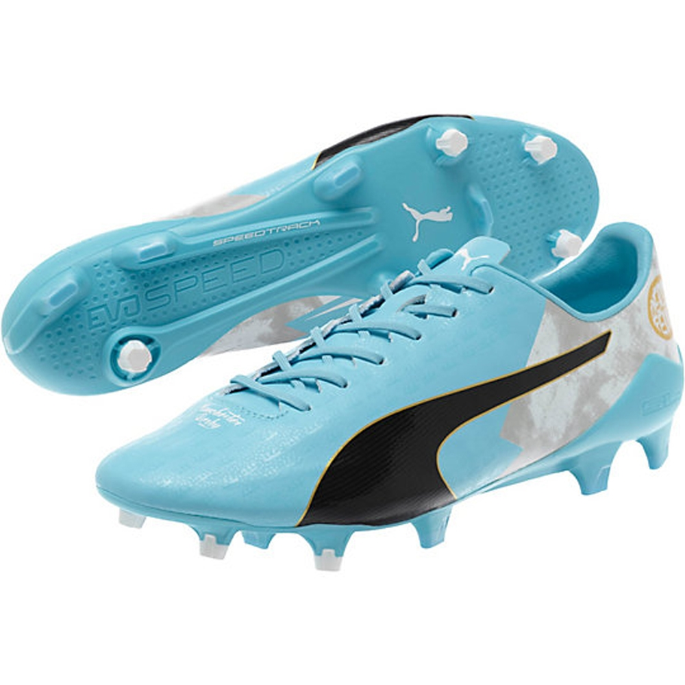 3ad2d2a94 Puma evoSPEED SL Sergio Aguero LE FG Soccer Cleats (Bluefish White ...