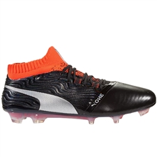 Puma One 18.1 FG Soccer Cleats (Black/Silver/Red Blast)