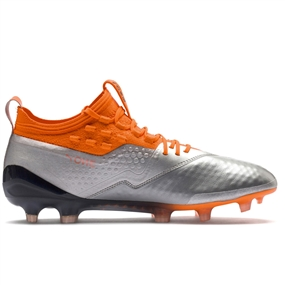 Puma One 1 Leather FG Soccer Cleats (Silver/Shocking Orange/Black)