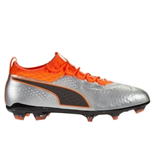 Puma One 2 Leather FG Soccer Cleats (Silver/Shocking Orange/Black)