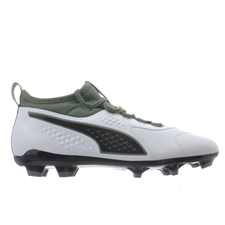 Puma One 3 Leather FG Soccer Cleats (White/Black/Laurel Wreath)