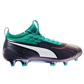 Puma One 1 Leather FG Soccer Cleats (Color Shift/Biscay Green/White/Black)