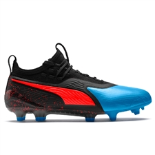Puma ONE 19.1 FG/AG Soccer Cleats (Bleu Azur/Red Blast/Black)