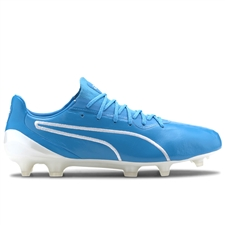 Puma King Platinum FG/AG Soccer Cleats (Luminous Blue/Puma White)