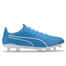 Puma King Pro FG Soccer Cleats (Luminous Blue/Puma White)