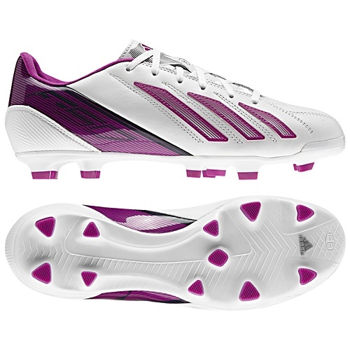 Adidas Womens F30 (Leather) TRX FG Soccer Cleats (Running White/Vivid Pink
