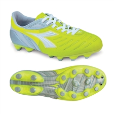 Diadora Women's Maracana MD PU (Yellow Fluo/Silver/White)
