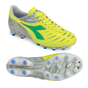 Diadora Women's Maracana MD PU FG Soccer Cleats (Yellow/Lime/Royal)
