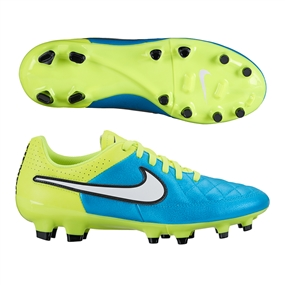 Nike Women's Tiempo Genio FG Soccer Cleats (Blue Lagoon/Volt/Black/White)