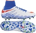Nike Women's Hypervenom Phantom II FG Soccer Cleats (White/Bright Crimson/Racer Blue)
