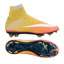 Nike Women's Mercurial SuperFly IV FG Soccer Cleats (Bright Mango/Laser Orange/Opti Yellow/White)