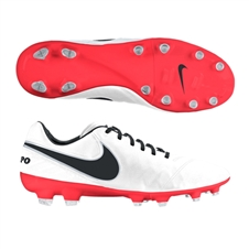 Nike Women's Tiempo Legacy II FG Soccer Cleats (White/Bright Crimson/Black)