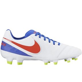 Nike Women's Tiempo Legacy II FG Soccer Cleats (White/Bright Crimson/Racer Blue/Volt)