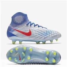 Nike Women's Magista Obra II FG Soccer Cleats (Pure Platinum/Bright Crimson/Racer Blue)