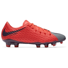 Nike Women's Hypervenom Phelon III FG Soccer Cleats (Cool Grey/Purple Dynasty/Max Orange)