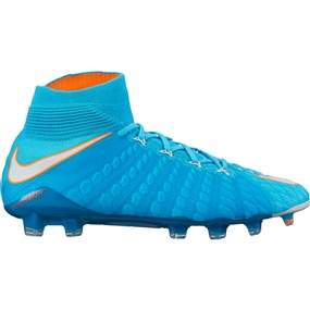 Nike Women's Hypervenom Phantom III DF FG Soccer Cleats (Polarized Blue/White/Chlorine Blue/Tart)