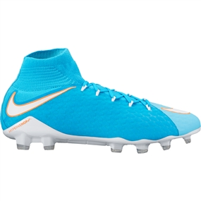Nike Women's Hypervenom Phatal III DF FG Soccer Cleats (Polarized Blue/White/Chlorine Blue/Tart)
