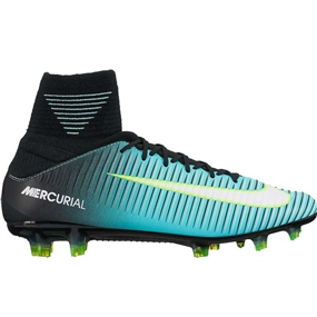 Nike Women's Mercurial Veloce III FG Soccer Cleats (Light Aqua/White/Black/Volt)