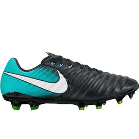 Nike Women's Tiempo Legacy III FG Soccer Cleats (Black/White/Light Aqua/Volt)