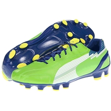 Puma Women's evoSPEED 4 FG Soccer Cleats (Jasmine Green/White/Monaco Blue/Fluorescent Yellow)