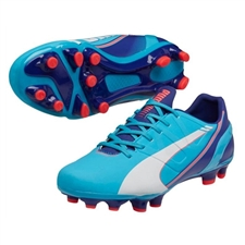 Puma Women's evoSPEED 3.3 FG Soccer Cleats (Blue Atoll/White/Clematis Blue/Bright Plasma)