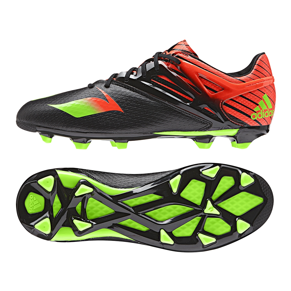 Adidas Messi 15.1 Youth FG/AG Soccer Cleats (Black/Solar Green/Solar Red)