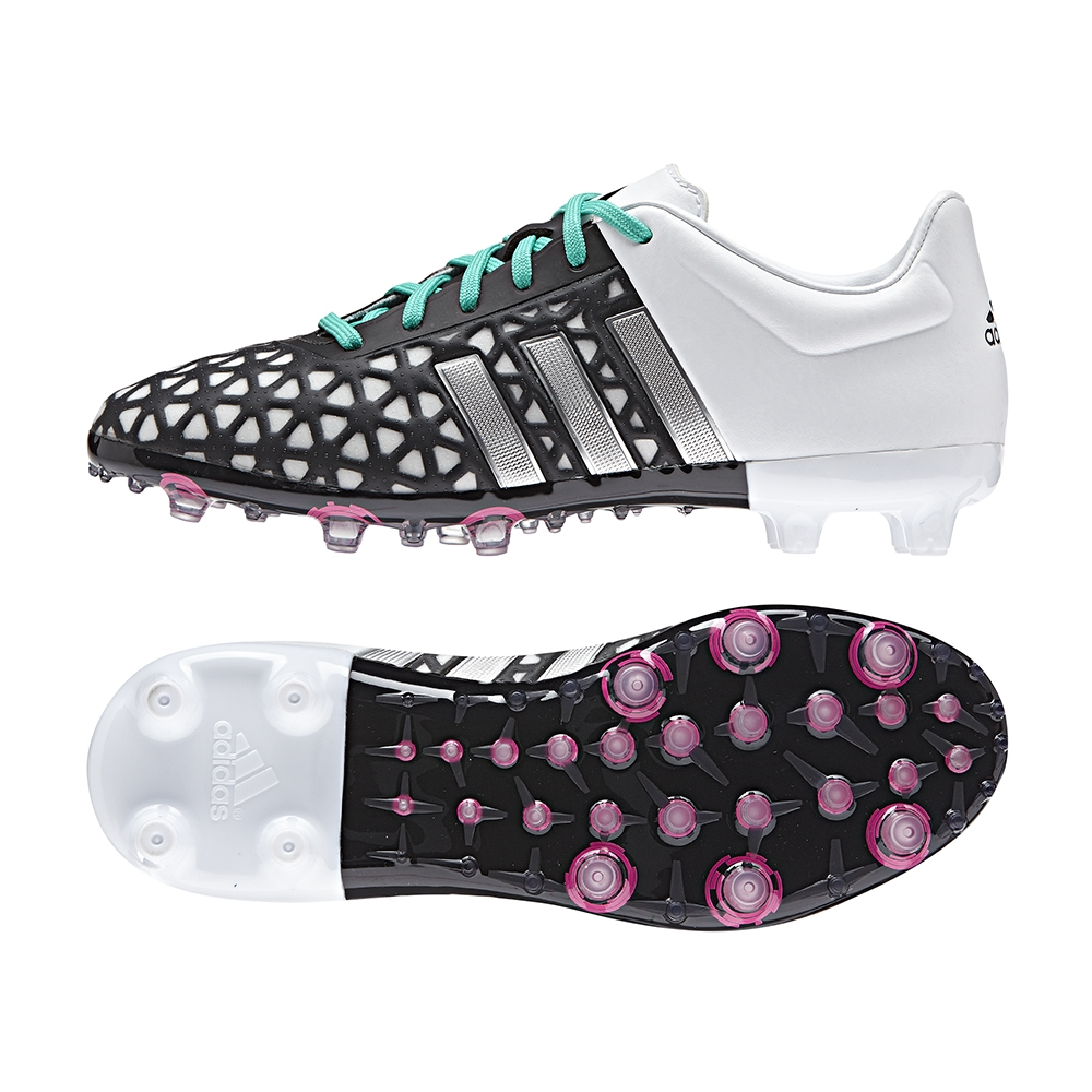 new concept ea9b3 c1e79 Adidas ACE 15.1 Youth FG/AG Soccer Cleats (Black/Matte Silver/White)