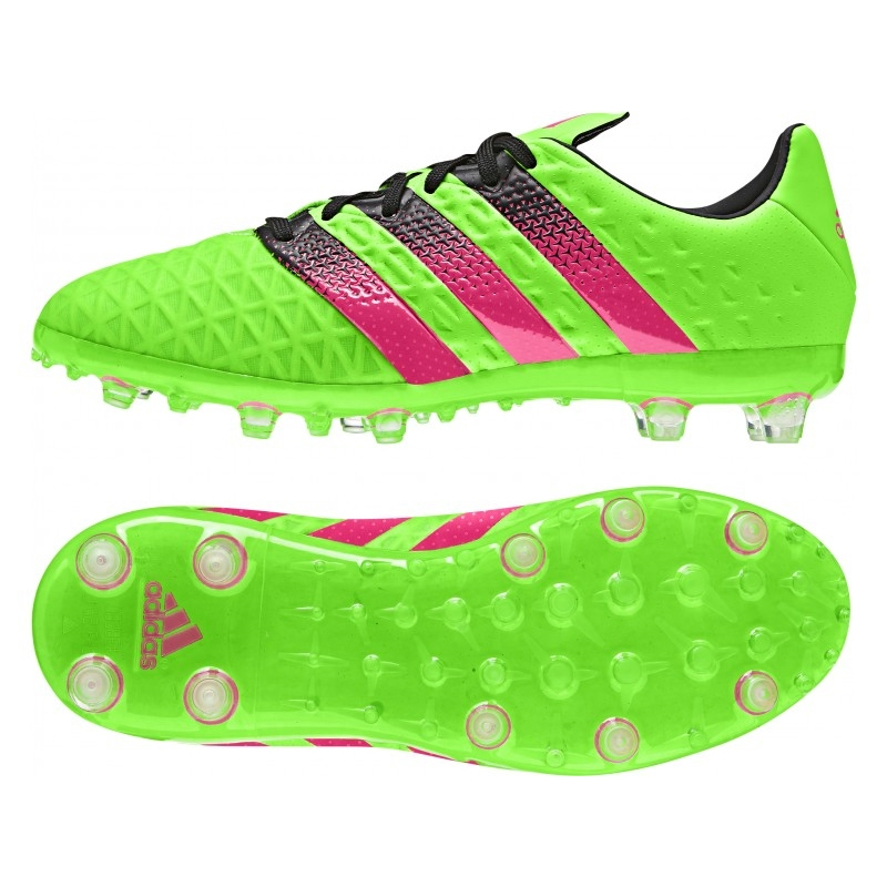 timeless design 50f10 c0b64 Adidas ACE 16.1 Youth FG/AG Soccer Cleats (Solar Green/Shock Pink/Black)