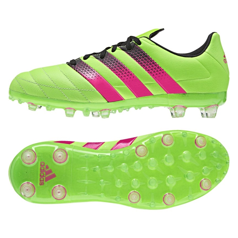 newest d8ece 0881c Adidas ACE 16.1 Leather Youth FG/AG Soccer Cleats (Solar Green/Shock  Pink/Black)