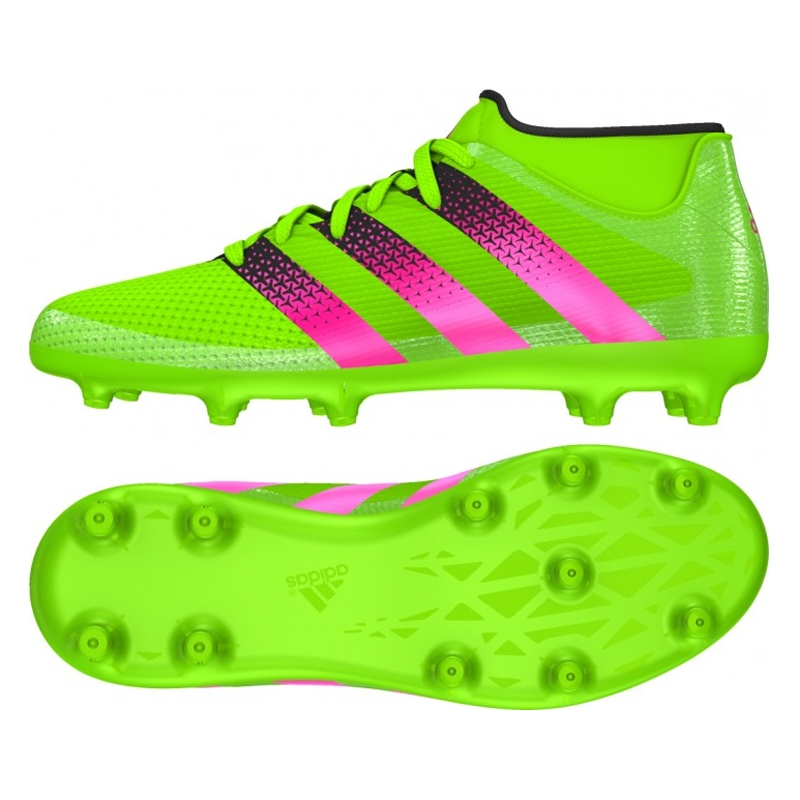 Adidas ACE 16.3 Primemesh Youth FG/AG Soccer Cleats (Solar Green/Shock  Pink/Black)
