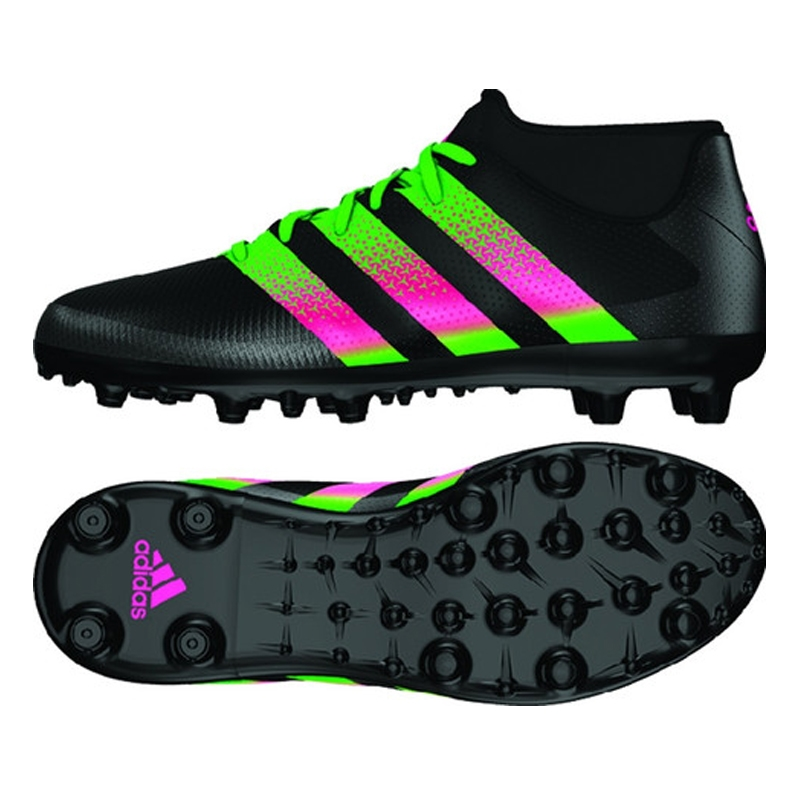 Adidas ACE 16.3 Primemesh Youth FG/AG Soccer Cleats (Black/Shock Pink/Solar Green)