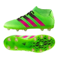 Adidas ACE 16.1 Primeknit Youth FG/AG Soccer Cleats (Solar Green/Shock Pink/Black) |  Adidas Soccer Cleats |FREE SHIPPING| Adidas AQ3490 |  SOCCERCORNER.COM