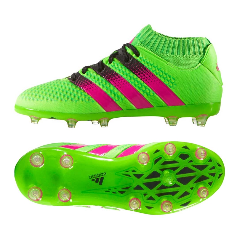 Adidas ACE 16.1 Primeknit Youth FG/AG Soccer Cleats (Solar Green/Shock Pink /Black)