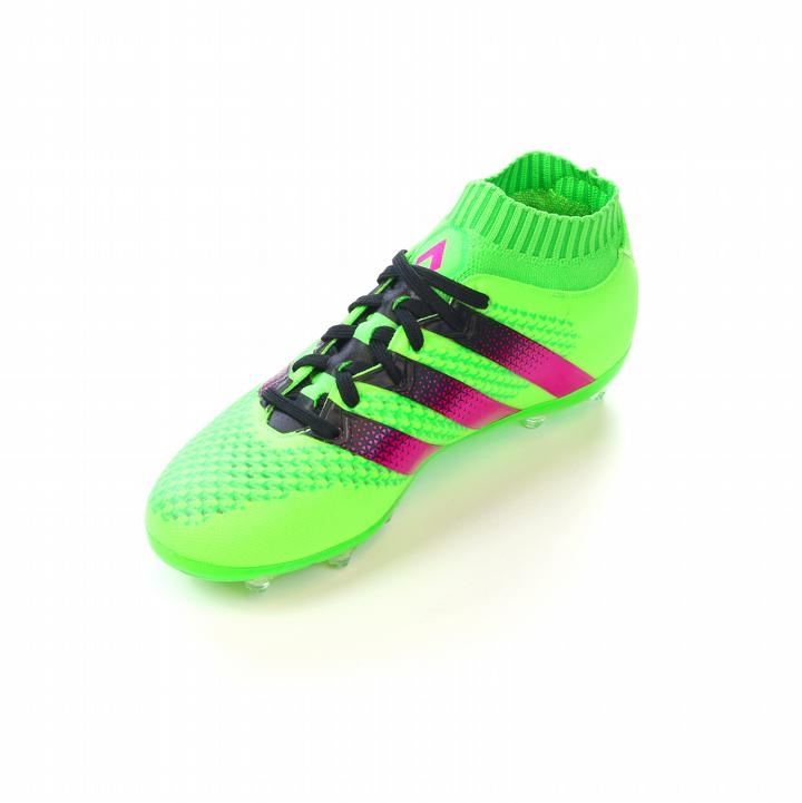Adidas ACE 16.1 Primeknit Youth FG AG Soccer Cleats (Solar Green Shock Pink  Black) e0b9d4058