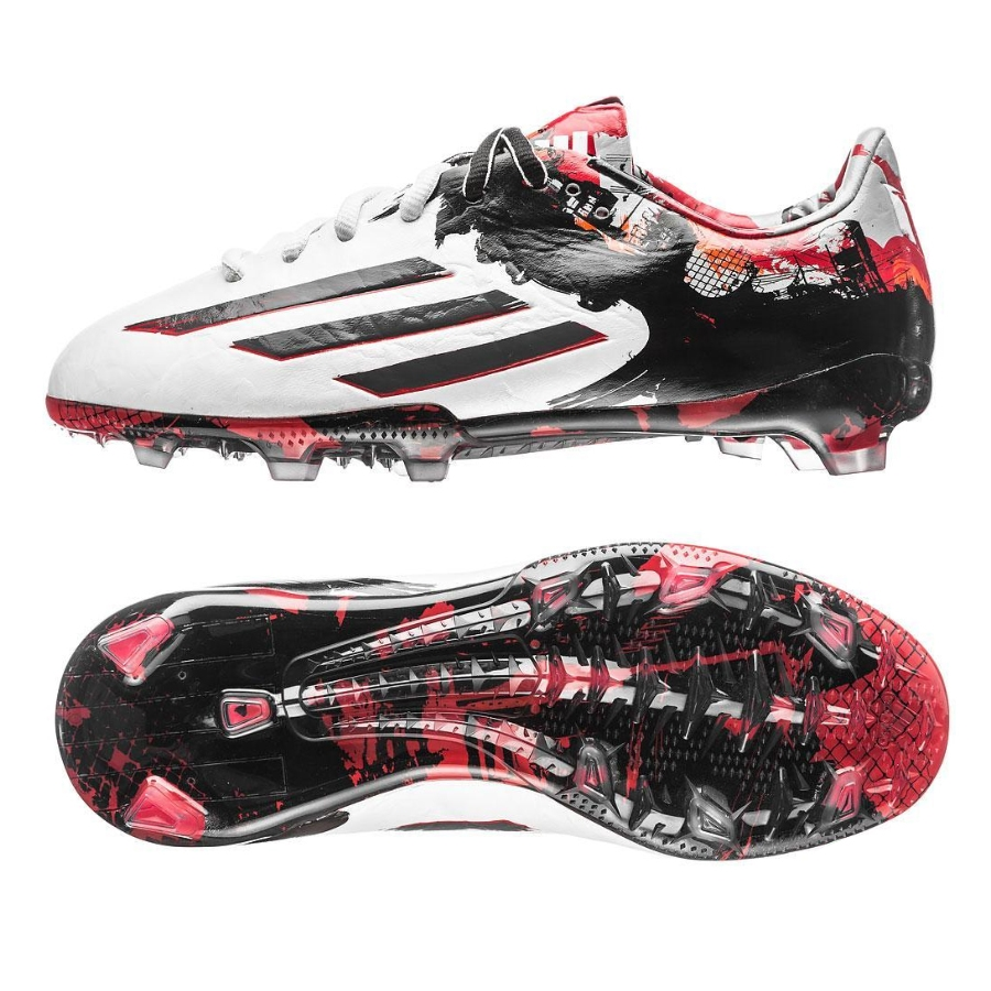 4f09fbd7dab Adidas Messi Pibe de Barrio 10.1 Youth FG Soccer Cleats (White  Granite Scarlett