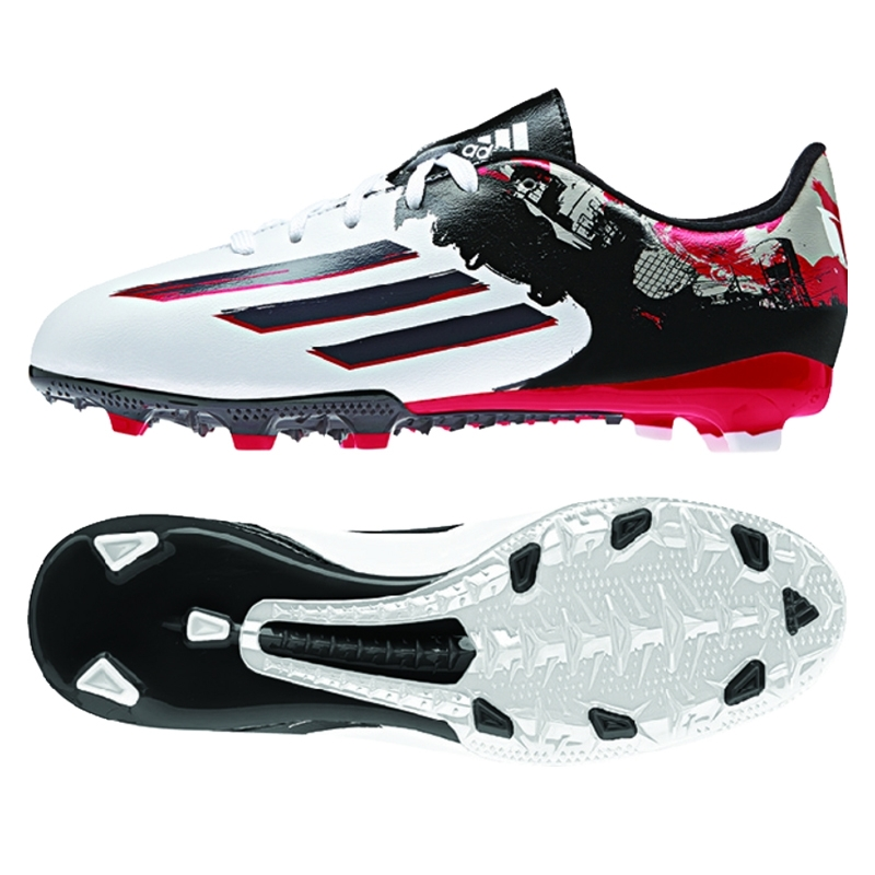 Adidas Messi Pibe de Barrio 10.3 Youth FG Soccer Cleats (White/Granite/ Scarlett
