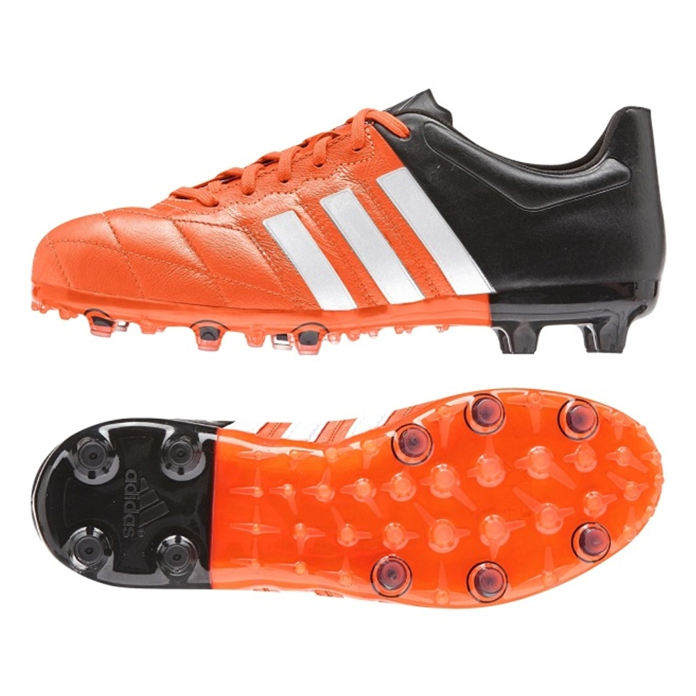 Adidas ACE 15.1 (Leather) Youth FG/AG Soccer Cleats (Solar Orange/White/ Black)