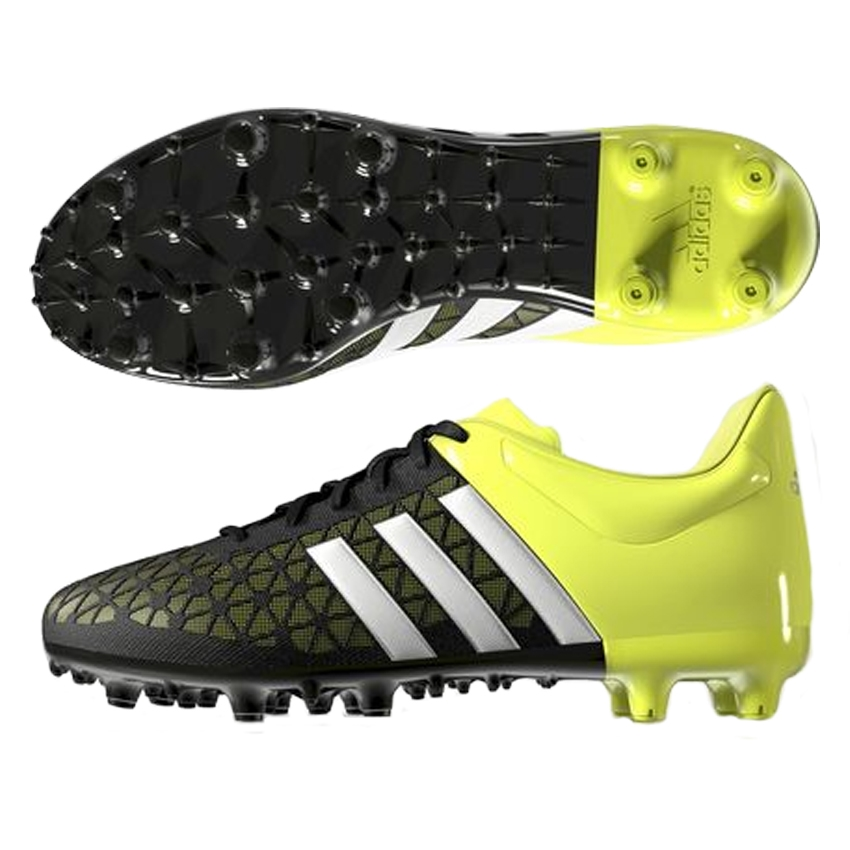Adidas ACE 15.3 Youth FG/AG Soccer Cleats (Black/White/Solar Yellow)