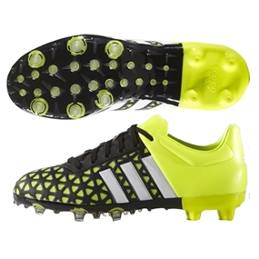 Adidas ACE 15.1 Youth FG/AG Soccer Cleats (Black/White/Solar Yellow) |  Adidas Soccer Cleats |FREE SHIPPING| Adidas B32855 |  SOCCERCORNER.COM