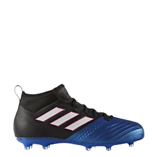 Adidas ACE 17.1 Primeknit Youth FG Soccer Cleats (Black/White/Blue) | Adidas Soccer Cleats |FREE SHIPPING| Adidas BA9215 |  SOCCERCORNER.COM